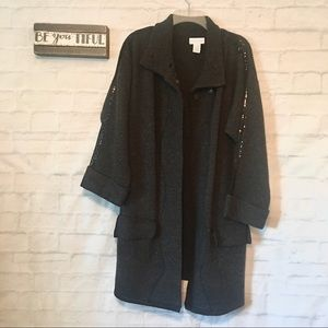 Soft surroundings gray long knit sequins jacket M